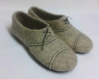 Men's felted wool slippers, original felted mens slippers, woolen clogs, mens house shoes, Gift for husband