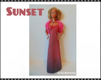 SUPERSIZE 18in  BARBIE Doll Clothes - SUNSET Crocheted Stole, Gown and Jewelry Set - by dolls4emma