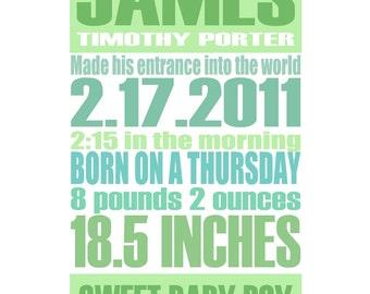 Green - Gentle Pastel - Custom Birth Announcement Gift Print - 8x10