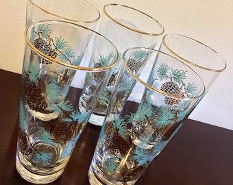 Vintage 1960s Libbey Tumbler Pinecone Glasses - Set of five (5)