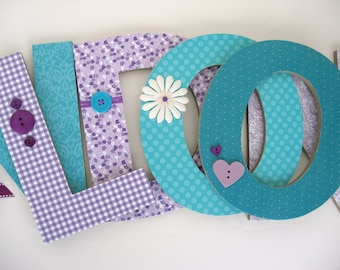 Lavender, Purple, and Teal Custom Wooden Letters - Baby Girl Nursery Letters - Baby Shower Gift Decor