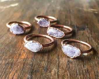 Lepidolite Ring | Stone Ring | Electroformed Jewelry | Lilac Ring | Electroform Ring | Lepidolite & Copper Ring | Crystal Ring