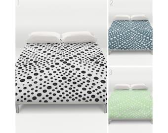 Modern Black and White Duvet Cover . Teal duvet cover . Twin XL duvet . Mint duvet cover . queen duvet cover . king duvet . Bedding set