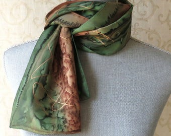 Skinny Silk Scarf Hand Dyed in Olive Green and Brown with Gold Accent