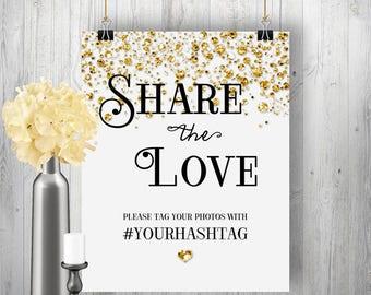 Printable Instagram Sign - Engagement, Wedding, Anniversary - Confetti Glitter: Silver, Gold, Pink or Blue - DIY Print, Digital File #4CG