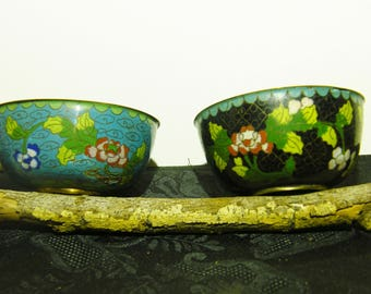 Old Chinese Cloisonne Rice Bowls/Wine cups (2)