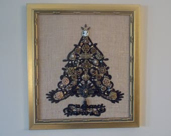 Cameo Beauty  Handmade Vintage & Mixed Era Costume Jewelry Christmas Tree, One of a Kind!