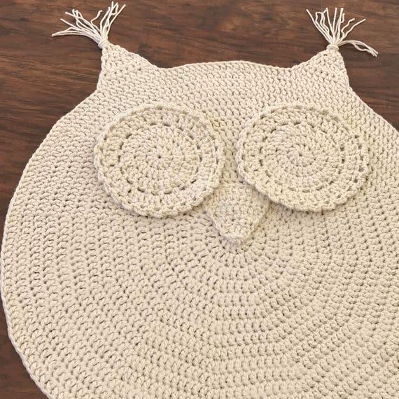 Crochet Owl Rug Pattern: Crochet Rug EASY CROCHET PATTERN Crochet Owl Rug Nursery
