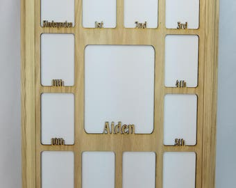School Years Picture Frame - 4x6 Pictures - Personalized Any Name - Graduation Gift Collage K-12, Multiple Color Options -  19x27