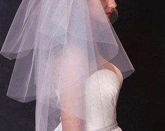 Ivory wedding vei,Bridal veil with cut edge,Waist length tulle veil,l,bridal veil wedding,4 tier veil,modern veil,bridal illusion tulle,veil