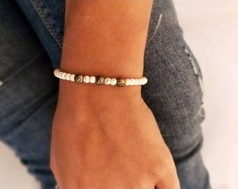 Gold and cream beaded bracelet, perfect gift for women, elasticated