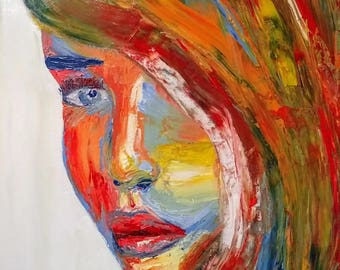 Impressionist Acrylic Painting - Original and Print -Colourful Girl- Wall Art