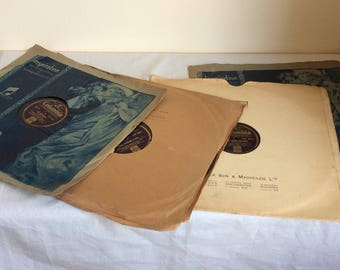 """Vintage gramophone records, 4 collectible 12"""" shellac recordings 78rpm of Stanley Holoway Monologues"""