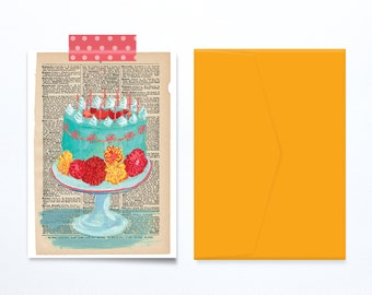 Vintage birthday cake greeting card