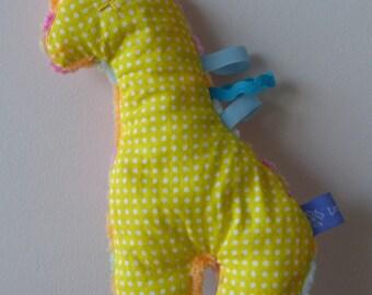 Plush, plush giraffe soft fabric, minkee, labels for kids