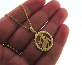 14k Capricorn Necklace - Capricorn Necklace - Gold Capricorn Pendant - Gold Zodiac Necklace - Gold Zodiac Pendant - Gold Zodiac Jewelry