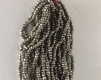 RARE - Antique Metal Cut Micro Beads 4 - DARK SILVER