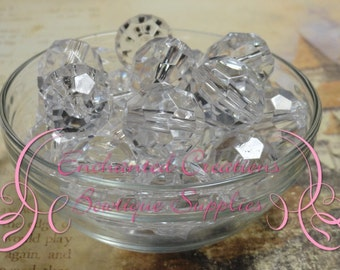 20mm Transparent Faceted Acrylic Beads Qty 10