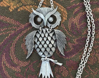 Pewter Owl Necklace with Hammered Chain