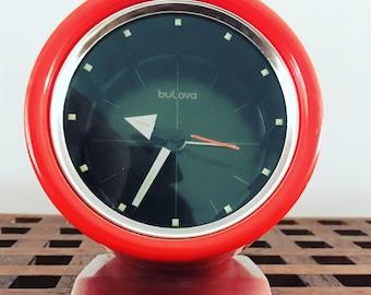 ORANGE Bulova Wind Up Alarm Clock
