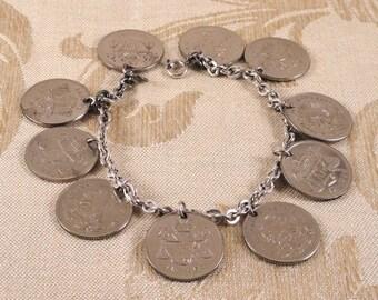 1950-53 Mexican 25 Centavo 10-Coin Charm Bracelet