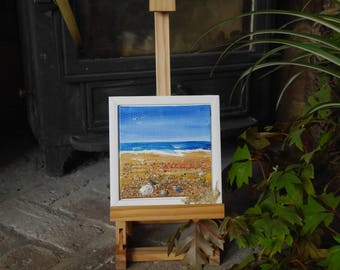 Sea Frame 3 - Seascape in acrylic with beach finds on a canvas board in a small wooded frame