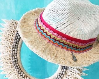 Pink Hat | Beach hat | Summer hat | Boho hat | Must Have | Beach essentials | Sonnenhut | Chapeau de plage | Beach hat | chapeau de paille