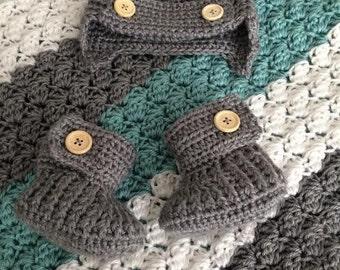 Crochet Baby Blanket - Grey and Turquoise