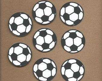 8- 2 inch Black and White Soccer Balls Cricut Die Cut