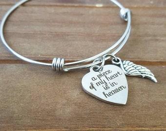 Piece of my Heart is In Heaven Bangle Bracelet Initial Birthstone Charm Bracelet Memorial Gift In loving Memory Bereavement Family