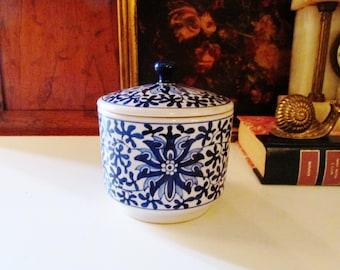Vintage Blue and White Lidded Pot, Chinoiserie Pottery Vase, Palm Beach Decor, Candy Box, Trinket Box, Home Office Decor, Boho Chic