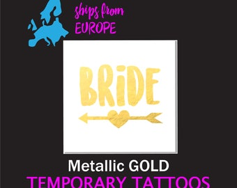 Wedding favors, Bride tattoo, bachelorette tattoo, gold temporary tattoo, matching bride tribe tattoo