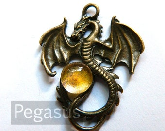 Golden Egg Orb Dragon Pendant (Bronze or Silver Dragon, 7 orb color) Medieval Dragon pendant for larp costumes,gifts,fantasy jewelry