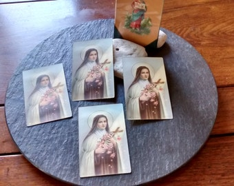 1+ NEW vintage St Therese of Lisieux religious Saint Holy prayer gold gilt Italy cards nicho ofrenda July 4th shrine alter supply  gift