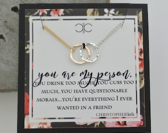 you are my person...set of TWO friendship necklaces, eternity, infinity, partner in crime