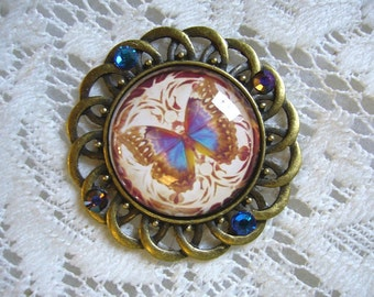Antique Blue And Violet Butterfly Pendant Free Shipping in USA