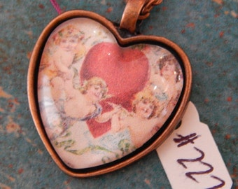 Cupid Heart Necklace Key Ring #110