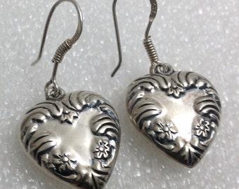 Vintage sterling dangle heart earrings.
