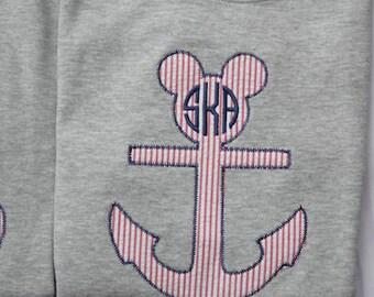 Mickey Mouse Anchor Applique Shirt, Mickey Disney Cruise Shirt, Mickey Anchor Shirt, Disney Cruise Shirt, Mickey Anchor Cruise Shirt