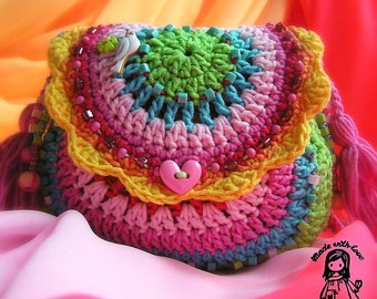 Crochet pattern - Rainbow purse by VendulkaM - digital pattern / summer purse for girls/ digital pattern  DIY