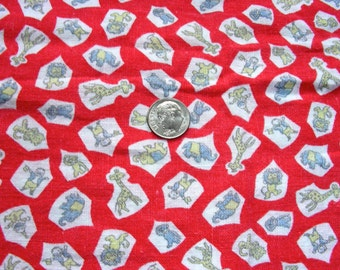 Vintage NOVELTY Feedsack Fabric: Juvenile Nursery Animals on Red Background * Still A Sack * 36x32