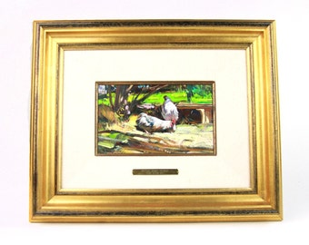 """Cyrus Afsary """"Nesting Chickens""""Beautiful Original Oil Painting- Listed Artist"""