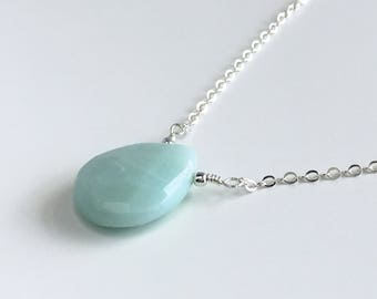 Amazonite Necklace - Statement Necklace - Green Necklace - Gemstone Necklace - Necklaces for Women - Silver Necklace - Gift for Mom
