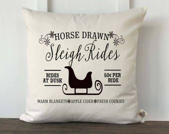 Farmhouse Christmas Sleigh Rides Pillow Cover, Farmhouse Christmas Pillow, Decorative Christmas Pillow, Couch Pillow cover