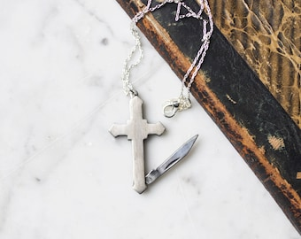 Cross Pocket Knife Necklace | Silver Toned Religious Symbol