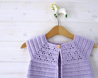 Crochet Lavender Baby Cardigan Written Pattern - Cute Crochet Baby Sweater Pattern