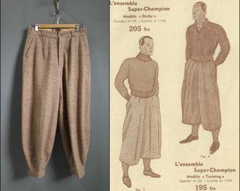 1920s tweed plus fours, 1920s knickers, wool granite cloth, 1920s pants, vintage menswear, 1930s plus fours, 1930s tweed pants, 1920s tweed