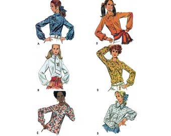 60's Women's Blouses Sewing Pattern, Long Sleeves, Collar Variations, Misses Size 10 Bust 32 Uncut Vintage 1960's McCall's 2018