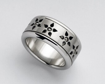 Flowers Ring, Wide Band for Women, Unique Womens Ring, Spinner Ring, Spinning Ring, Meditation Ring, Stainless Steel Ring, Statement Band