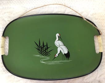 Green Mid Century Retro Boho Laquer Ware Japanese Hand Painted Serving Tray 1960's